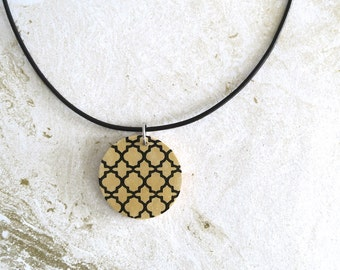 1/2 PRICE Large Wood Pendant Necklace, Modern Geometric Pendant, Round Gold Pendant, Wooden Necklace, Wood Jewellery, Gift for Her
