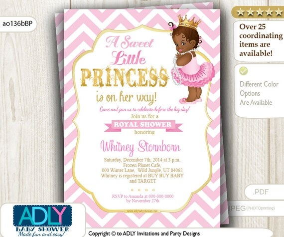 african american princess baby shower in gold pink, Baby shower invitations