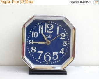 ON SALE MOM - Vintage Blue Mechanical Alarm Clock - Made in Hungary