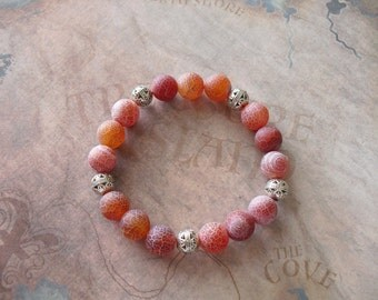Red frosted agate onyx bracelet
