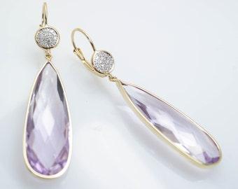 Long Pink Amethyst & Diamond Drop Dangle Earrings with 14k Yellow Gold Drop Teardrop Earrings