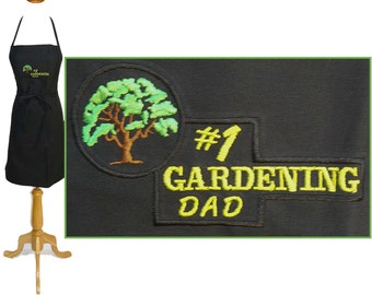 "Number 1 Gardening Apron Dad 24"" or 30"" Custom Embroidered Monogram"