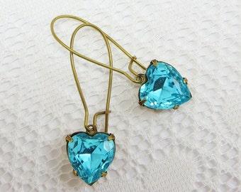 Aqua Blue Heart Earrings Turquoise Blue Ear Dangles Victorian Shabby Chic March Birthstone