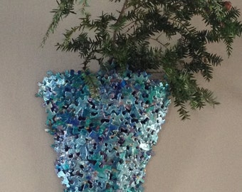 Jigsaw Puzzle Wall Sconce in shades of metallic blues
