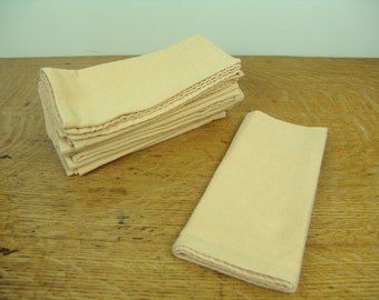 9 Yellow napkins vintage cotton dinner