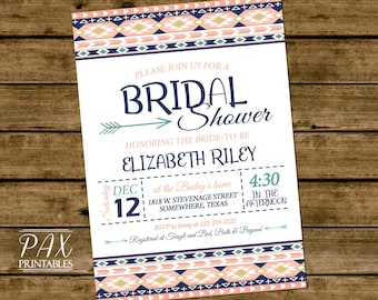 Aztec Printable Bridal Shower Invitations - Tribal Print Aztec Invitation, Bridal Shower, Bachelorette Party, Couples Shower, ANY EVENT