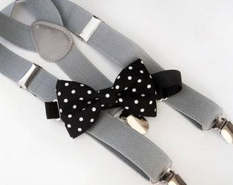 Black and white polka dots bow-tie & Gray elastic suspender set.