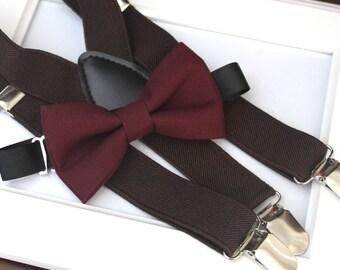 Deep Burgundy  bow-tie & Dark brown elastic suspender set - Adjustable neck strap and suspender - Chocolate brown suspenders