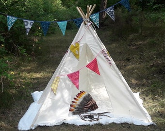 Big Teepee Tent Natural White. Tipi Tent. 5 POLES INCLUDED