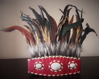 Indian Style headband with brown fur and brown and black feathers