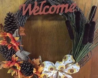 Autumn sunflowers grapevine wreath