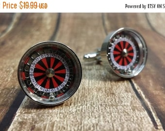 Christmas In July Sale Roulette Wheel Cufflinks with a Free Gift Box - Gambler - Casino