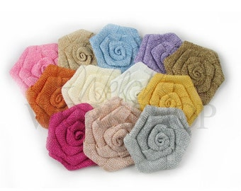 Sampler - Rolled Burlap Flower - Set of 12 Flowers - LRB-SS