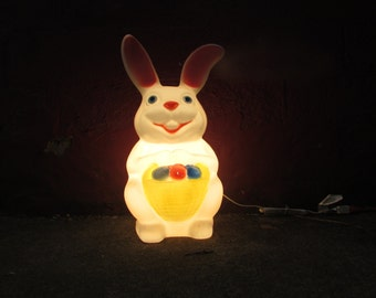 "Sweet 22"" Easter Bunny Blow Mold.  Easter Yard Display. Lighted with NEW Electrical Cord. Nice VINTAGE Condiiton. Smaller Rabbit."
