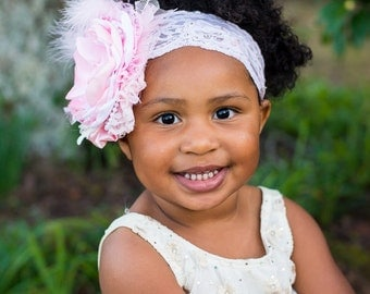 Pink Couture-Baby Headband-Photo Prop, Girls Headband, Pink Headband, Infant Headband, Pink Baby Headband, Pink Flower Headband