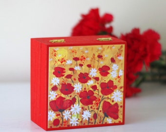 Red Jewellery Box, Poppy Wooden Box, Floral Storage Box, Red Decorative Box, Hand Painted Jewellery Box, Artwork Wooden Box