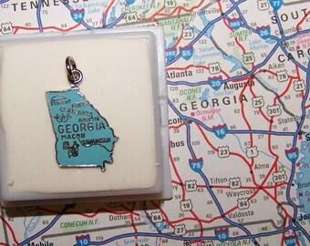 Vintage GEORGIA Sterling  and Enamel State Charm -- Athens, Atlanta, Augusta, Macon and Savannah