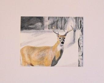 Original watercolor painting - Majestic Deer