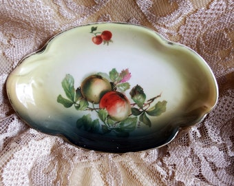 Antique 1898 Relish Dish, Hand Painted Fruit, Apples and Cherries, Various Shades of Green on White