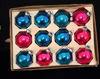 """Box Christmas ornaments, 12, blue and pink, 2 1/2"""" long, we have more in our shop, Nice to add to a collection, #42"""