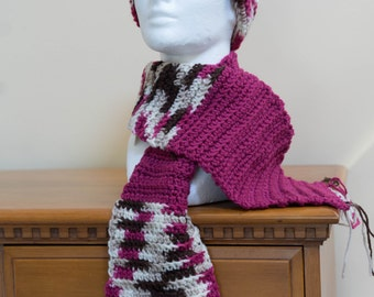 Adult's Raspberry and Multi-color Hat & Scarf