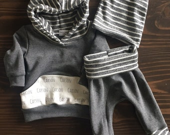 Personalized Pocket Set - French Terry Hoodie and Foldover Pant with Striped Slouch Beanie