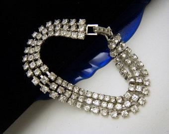 Triple Strand Vintage Rhinestone Bracelet