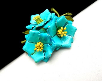 Vintage Enamel Flower Brooch Pin Trio Blue Yellow Centers
