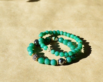 Spill the Tea custom emerald green agate set