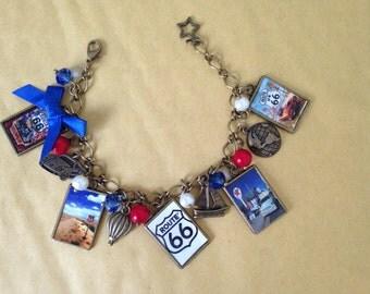 Route 66 Vintage Poster Charm Bracelet. Handmade, Unique