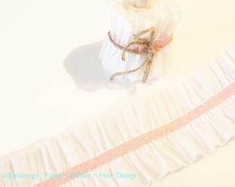 White Crepe Paper Ruffles With Glitter Tape Center, One Yd.
