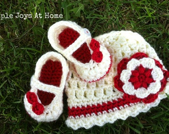 The Beatrice Set {The Baby Project} Cream and Red Crocheted Hat and Shoe Set // Infant Girl Set // Baby Shower Gift // Photo Prop