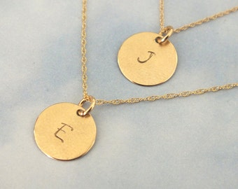 2 Solid Gold 11mm Initial Necklace, 2 Gold Necklace, Gold Pendant Necklace, 14k Solid Gold Necklace, Personalized Necklace, Solid Gold Disc-