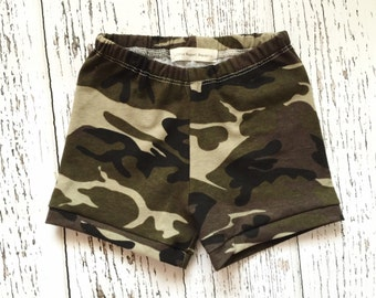 Camo baby shorts, camo toddler shorts, baby shorts, toddler shorts, camo baby clothes, camo baby outfit, camo baby girl clothes
