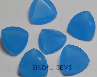 10 Pieces Lot Blue Chalcedony Trillion Shape Faceted Cut Loose Gemstone