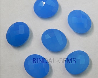 15 Pieces Lot Blue Chalcedony Oval Shape Checker Cut Loose Gemstone