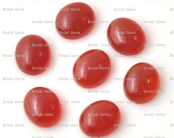 25 Pieces Wholesale Lot Red Onyx Oval Shape Cabochon Gemstone For Jewelery