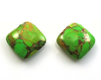 15 Pieces Green Copper Turquoise Cushion Shape Loose Smooth Polished Gemstone
