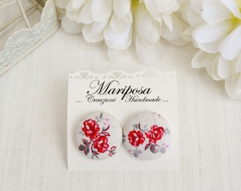 Button earrings - Red and white studs earrings - Floral earrings