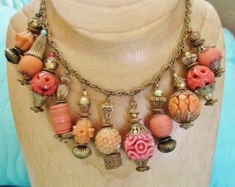 Vintage Art Deco Celluloid Coral and Brass Bib Necklace