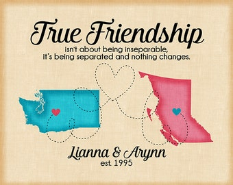 True Friendship Quote, Long Distance Friend Maps, Moving to Another State, New Address, Gift for Best Friend Birthday, Blue and Pink   WF332