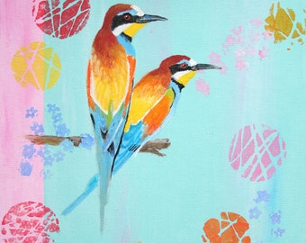 bee-eaters birds acrylic painting
