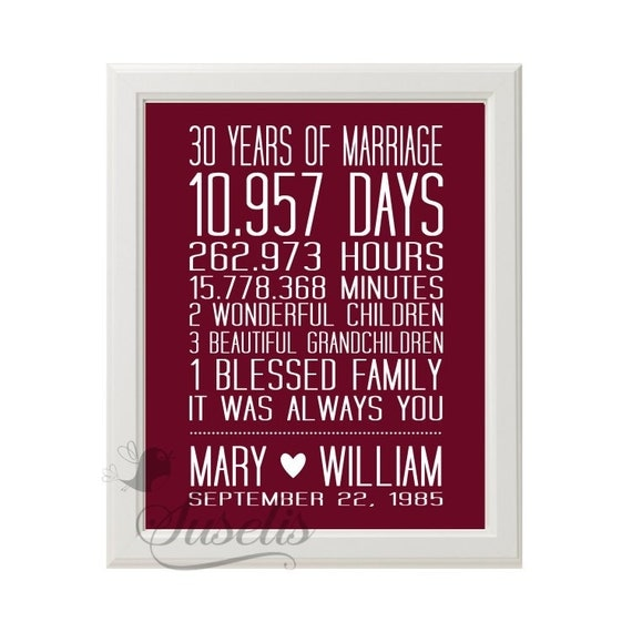 Wedding Anniversary Gifts 30 Years: Personalized 30 Year Wedding Anniversary Print By Suselis