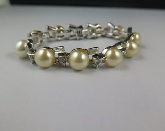 Mazer Bros. Faux Pearl and Rhinestone Bracelet