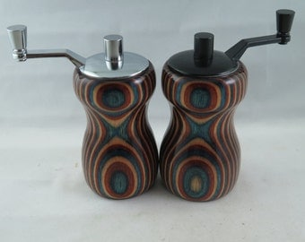Red White and Blue Dymondwood salt and pepper mill set.