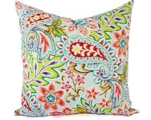 Paisley Pillow Covers - Outdoor Pillow Cover - Pink Pillow Covers - Floral Pillow Cover - Teal Pillow Cover - Blue and Pink Pillow Sham