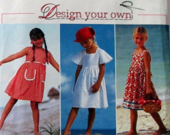 Simplicity 9562, Girls Size 5,6,6X, Design Your Own Sundress Sewing Pattern, Vintage Sundress Pattern, 9562 Simplicity