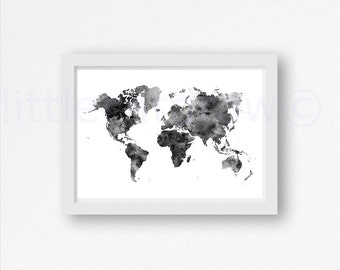 World Map Print Black and White Watercolor Art Print Wall Art Map of The World Art Print Bedroom Wall Decor Wall Poster Unframed Art Print