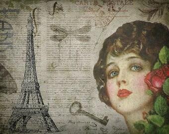 Paris vintage woman portrait art print