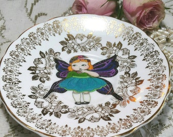 Decorative Wall Plate with little butterfly girl illustration. English bone china vintage upcycled  side plate. Picture plate. PP034
